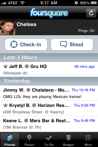Foursquare iPhone app main screen