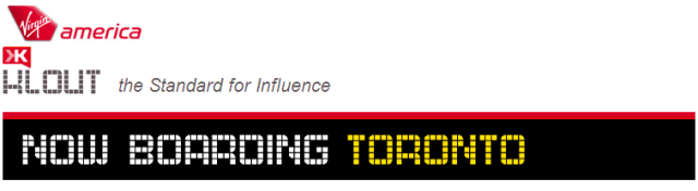 Klout & Virgin America Toronto Perk